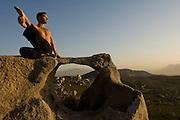 Yoga at desert resort of Ranco La Puerta, Mexico