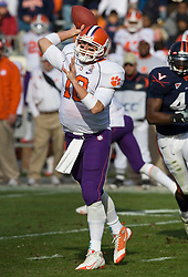 Clemson quarterback Cullen Harper (10) in action against UVA. The Clemson Tigers defeated the Virginia Cavaliers 13-3 in NCAA Division 1 football at Scott Stadium on the Grounds of the University of Virginia in Charlottesville, VA on November 22, 2008.