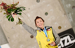 Winner Jain Kim of Korea during medal ceremony after the women final competition of IFSC Climbing World Cup Kranj 2011, on November 20, 2011 in Arena Zlato Polje, Kranj, Slovenia. (Photo By Vid Ponikvar / Sportida.com)