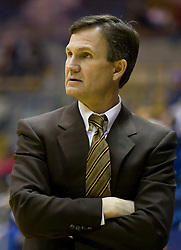 December 29, 2009; Berkeley, CA, USA;  Utah Valley Wolverines head coach Dick Hunsaker during the second half against the Furman Paladins at the Haas Pavilion.  Furman defeated Utah Valley 77-69.