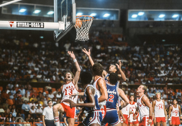 CARACAS, VENEZUELA -  AUGUST 1983:  The teams from Puerto Rico and Canada compete in the 1983 Pan Am Games basketball tournament held from August 15-27, 1983 in Caracas, Venezuela.  (Photo by David Madison/Getty Images) *** Local Caption ***