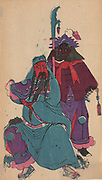 Kuan Yu (162-220) and his squire Chou-tsang.  Chinese military hero, canonized in 1594 as Guan Di, god of War (Taoist) and Protector of China (Buddhist). His legend is told in Kabuki eighteen play Kang-Yu. Print Undated