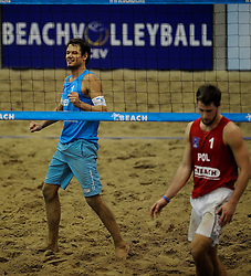 15-01-2012 VOLLEYBAL: CEV SATELLITE TOURNAMENT: AALSMEER <br /> CEV Satellite, het indoor beachvolleybaltoernooi in Aalsmeer / Reinder Nummerdor (foto) en Richard Schuil winnen de CEV Satellite toernooi<br /> ©2012-FotoHoogendoorn.nl