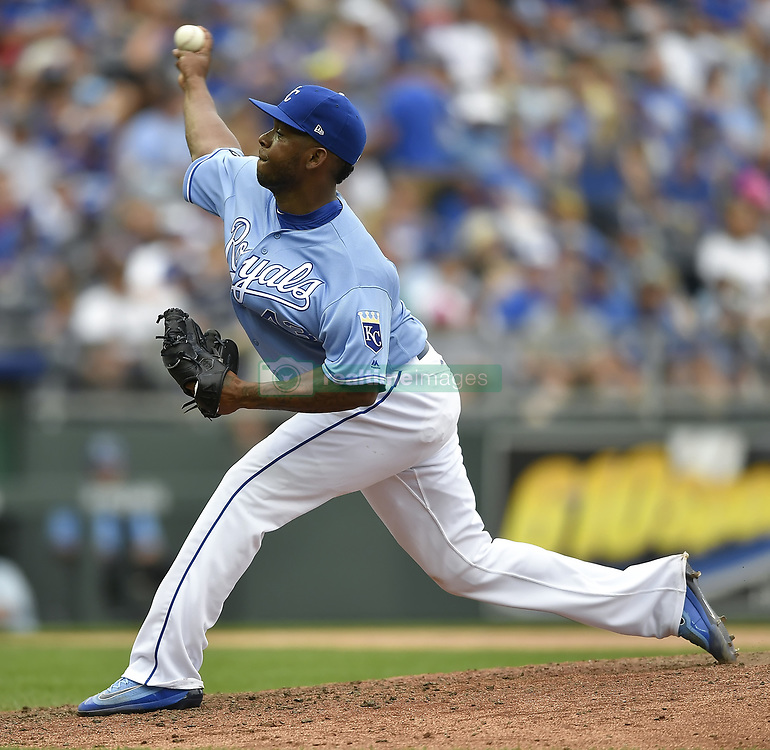 June 25, 2017 - Kansas City, MO, USA - Kansas City Royals relief pitcher Neftali Feliz (43) made his first appearance as a Royal in the seventh inning against the Toronto Blue Jays on Sunday, June 25, 2017 at Kauffman Stadium in Kansas City, Mo. (Credit Image: © David Eulitt/TNS via ZUMA Wire)