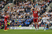 Grant Leadbetter just misses the target during the Sky Bet Championship match between Preston North End and Middlesbrough at Deepdale, Preston, England on 9 August 2015. Photo by Simon Davies.