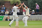 Wicket - Lewis Gregory of Somerset celebrates taking the wicket of Chris Nash of Nottinghamshire during the Specsavers County Champ Div 1 match between Somerset County Cricket Club and Nottinghamshire County Cricket Club at the Cooper Associates County Ground, Taunton, United Kingdom on 10 June 2018. Picture by Graham Hunt.