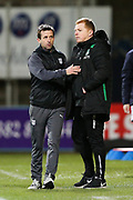 Dundee manager Neil McCann acknowledges Hibernian manager Neil Lennon following the Ladbrokes Scottish Premiership match between Dundee and Hibernian at Dens Park, Dundee, Scotland on 24 January 2018. Photo by Craig Doyle.