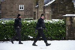© Licensed to London News Pictures . 17/01/2016 . Rossendale , UK . Police searching the scene on Sunny Bank Road , Helmshore , where 60-year-old Sadie Hartley was discovered with multiple stab wounds at her home at 22:40 GMT on Friday (15th January 2016) . Photo credit : Joel Goodman/LNP