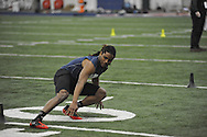 Mississippi running back Jeff Scott runs through a drill during Pro Day, in Oxford, Miss. on Monday, March 3, 2014. (AP Photo/Oxford Eagle, Bruce Newman)