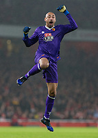 Football - 2016 / 2017 Premier League - Arsenal vs. Watford <br /> <br /> Heurelho Gomes of Watford leaps in celebration after Watford take the lead and finally win at The Emirates.<br /> <br /> COLORSPORT/DANIEL BEARHAM