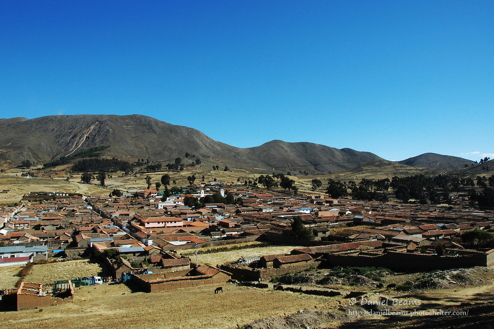View of Tarabuco from nearby hill, Chuquisaca, Bolivia