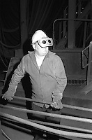Steelworker in melting shop British Steel Templeborough.