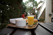 outdoors breakfast table at a roadside motel