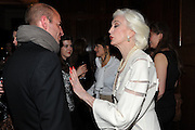 STEFAN BARTLETT;  CARMEN DELL'OREFICE; , London College of Fashion hosts party to celebrate the opening of Carmen: A Life in Fashion with guest of honour Carmen Dell'Orefice. Il Bottachio, Hyde Park Corner. London. 16 November 2011. <br /> <br />  , -DO NOT ARCHIVE-© Copyright Photograph by Dafydd Jones. 248 Clapham Rd. London SW9 0PZ. Tel 0207 820 0771. www.dafjones.com.