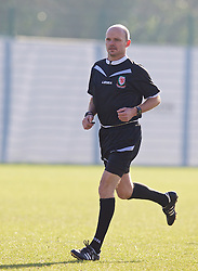 NEWPORT, WALES - Sunday, February 8, 2015: Referee Brian James during a friendly match between Wales U18 Academy and South Wales at Dragon Park. (Pic by David Rawcliffe/Propaganda)