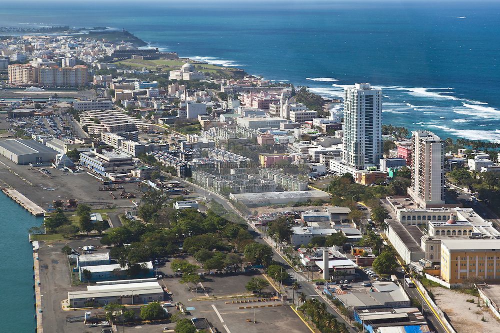 Aerial view of San Juan City looking toward the old city San Juan, Puerto Rico.