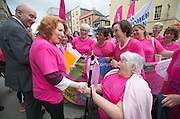 Repro Free: 30/09/2014<br /> Kathleen Lynch TD<br /> Minister of State, Department of Health and Department of Justice, Equality &amp; Defence is pictured with 72 year old Margaret Hayden from Mullingar as she is delivered a petition by the Irish Cancer Society and cancer campaigners from across Ireland submit a petition to Government, calling on the Minister for Health to take action and include extending the breast cancer screening programme for women aged 65-69 in the HSE&rsquo;s Services Plan for 2015. The Government said the extension of BreastCheck would take place during 2014 but then made a decision to defer it. At least eighty-seven lives are being lost to breast cancers every year due to the delay in screening the upper age group of women.  Picture Andres Poveda