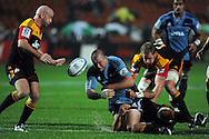 Tony woodcock drops the ball in slippery conditions. Investec Super Rugby - Chiefs v Blues, Waikato Stadium, Hamilton, New Zealand. Saturday 26 March 2011. Photo: Andrew Cornaga / photosport.co.nz