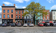 Thames St, Baltimore, Maryland, USA -- April 13, 2019. Photo taken on Thames Street in the popular Fells Point Section of Baltomore with its boutique
