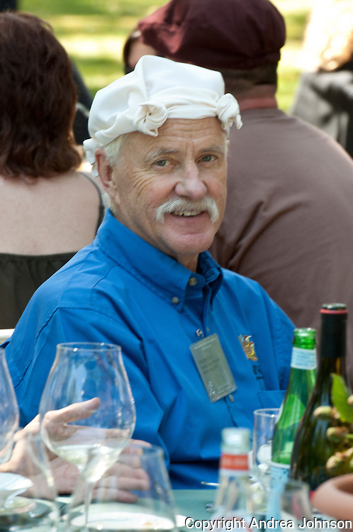 Steve Carey with the steamboat napkin hat