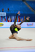Romanova Eleonora during qualifying at ball in Pesaro World Cup at Adriatic Arena on April 10, 2015. Eleonora was born August 17 ,1998 in Krasnodonl, Ukrain. After september 2016 obtained Russian citizenship, and become a Russian individual rhythmic gymnast.