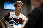 HOUSTON, TX - OCTOBER 3:  Sage Northcutt has his hands wrapped before his fight against Francisco Trevino during UFC 192 at the Toyota Center on October 3, 2015 in Houston, Texas. (Photo by Cooper Neill/Zuffa LLC/Zuffa LLC via Getty Images) *** Local Caption *** Sage Northcutt