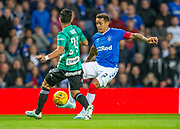 James Tavernier (#2) of Rangers FC tries to cut inside Andre Martins (#24) of Legia Warsaw during the Europa League Play Off leg 2 of 2 match between Rangers FC and Legia Warsaw at Ibrox Stadium, Glasgow, Scotland on 29 August 2019.