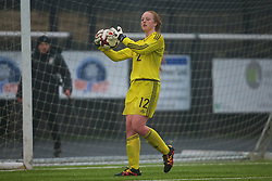 MERTHYR, WALES - Tuesday, February 14, 2017: Wales' substitute goalkeeper Grace Burke in action against Hungary during a Women's Under-17's International Friendly match at Penydarren Park. (Pic by Laura Malkin/Propaganda)