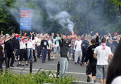 Russian and Polish fan clash in Warsaw, before the Euro 2012 game, on  Tuesday June 12, 2012. Photo by imago/i-Images