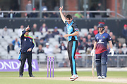 Worcestershire's Josh Tongue gets the finger from the umpire during the Royal London 1 Day Cup match between Lancashire County Cricket Club and Worcestershire County Cricket Club at the Emirates, Old Trafford, Manchester, United Kingdom on 17 April 2019.