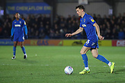 AFC Wimbledon midfielder Callum Reilly (33) dribbling during the EFL Sky Bet League 1 match between AFC Wimbledon and Doncaster Rovers at the Cherry Red Records Stadium, Kingston, England on 14 December 2019.
