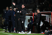 Stevenage manager Darren Sarll during the EFL Trophy match between Stevenage and Brighton and Hove Albion at the Lamex Stadium, Stevenage, England on 4 October 2016.