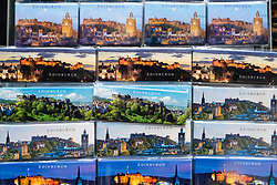 Detail of tourist fridge magnets with views of Edinburgh for sale in souvenir shop on Royal Mile in Edinburgh, Scotland, United Kingdom