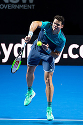 January 7, 2019 - Sydney, NSW, U.S. - SYDNEY, AUSTRALIA - JANUARY 07: Milos Raonic (CAN) serves at The Sydney FAST4 Tennis Showdown on January 07, 2018, at Qudos Bank Arena in Homebush, Australia. (Photo by Speed Media/Icon Sportswire) (Credit Image: © Steven Markham/Icon SMI via ZUMA Press)