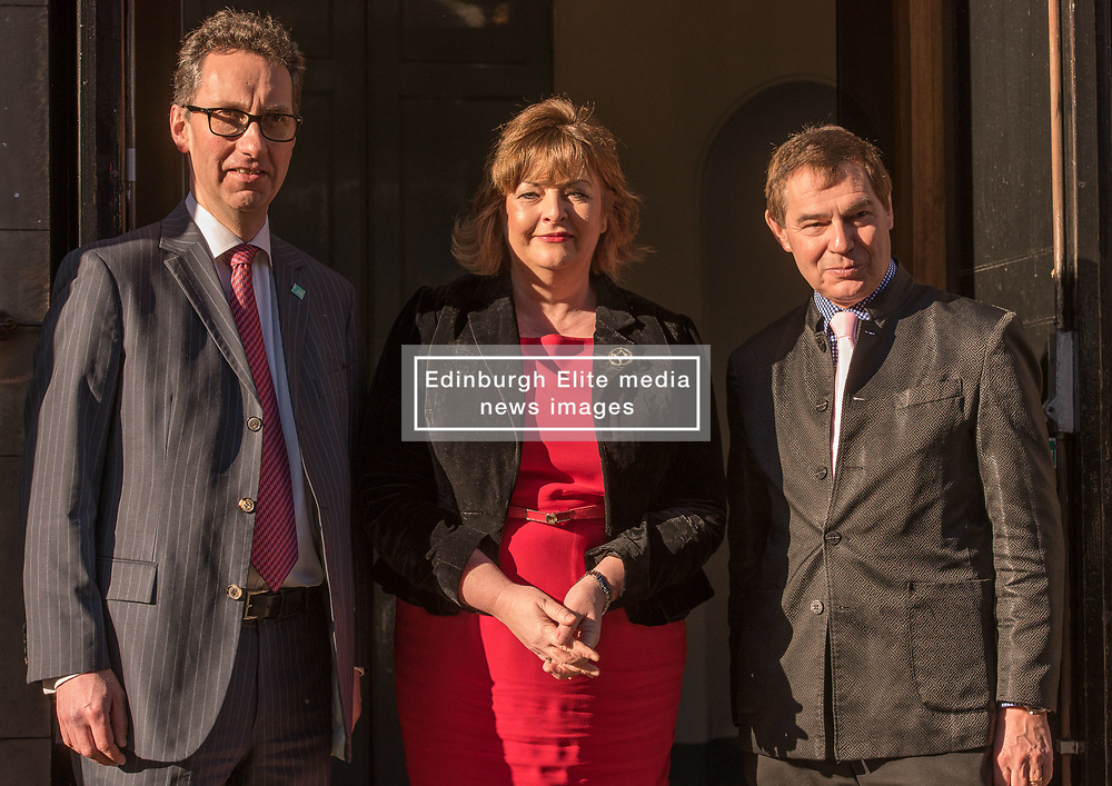 Pictured: Gavin Reid, Chief Executive of Scottish Chamber Orchestra, Fiona Hyslop, Culture Secretary, Nigel Griffiths, Chair of the Queen's Hall<br /> Culture Secretary Fiona Hyslop announced a £650,000 grant for building improvements at the Queen's Hall, Edinburgh. P<br /> <br /> <br /> © Jon Davey/ EEm