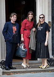 © Licensed to London News Pictures. 18/09/2018. London, UK. Samantha Cameron arrives with designer Christopher Kane and his sister Tammy Kane in Downing Street to attend a  Fashion Week reception hosted by Prime Minister Theresa May. Photo credit: Peter Macdiarmid/LNP