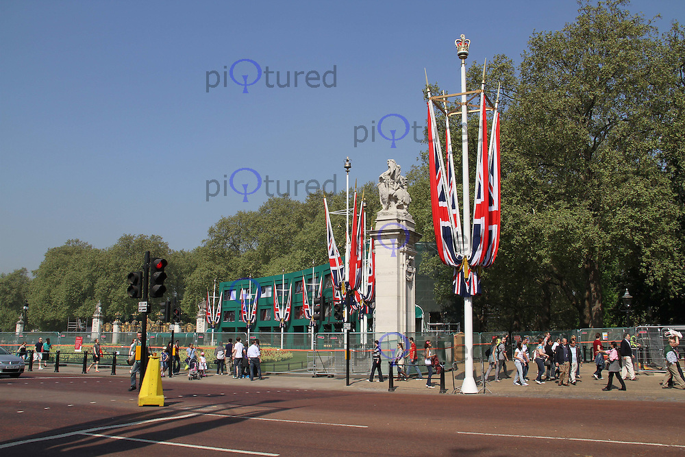 Union Flags; The Mall; TV Commentary Media Stands Royal Wedding preparations, London, UK, 23 April 2011:  Contact: Rich@Piqtured.com +44(0)7941 079620 (Picture by Richard Goldschmidt)