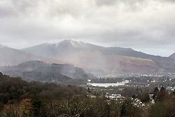 © Licensed to London News Pictures. 11/12/2015. Keswick UK.  Picture shows rain moving in towards the town of Keswick in Cumbria that was flooded earlier this week. Photo credit: Andrew McCaren/LNP