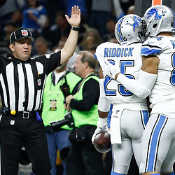 Dec 4, 2016; New Orleans, LA, USA; Detroit Lions running back Theo Riddick (25) celebrates with tight end Clay Harbor (84) after a touchdown against the New Orleans Saints during the first quarter of a game at the Mercedes-Benz Superdome. Mandatory Credit: Derick E. Hingle-USA TODAY Sports