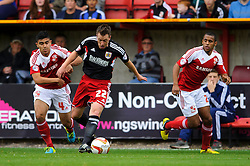Bristol City Defender Nicky Shorey (ENG) is challenged by Swindon Midfielder Massimo Luongo (AUS) during the first half of the match - Photo mandatory by-line: Rogan Thomson/JMP - Tel: 07966 386802 - 21/09/2013 - SPORT - FOOTBALL - County Ground, Swindon - Swindon Town v Bristol City - Sky Bet League 1.