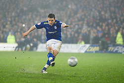 CARDIFF, WALES - Tuesday, January 24, 2012: Cardiff City's Craig Conway scores the second penalty of the shoot-out against Crystal Palace during the Football League Cup Semi-Final 2nd Leg at the Cardiff City Stadium. (Pic by David Rawcliffe/Propaganda)