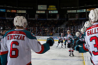 KELOWNA, CANADA - FEBRUARY 23: Nolan Foote #29 of the Kelowna Rockets skates to the bench to celebrate a goal against the Kamloops Blazers  on February 23, 2019 at Prospera Place in Kelowna, British Columbia, Canada.  (Photo by Marissa Baecker/Shoot the Breeze)