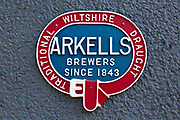 Sign for Arkells brewers since 1843 making traditional draught ale beer, Swindon, Wiltshire, England, UK
