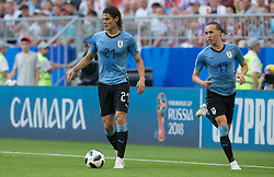 June 25, 2018 - Samara, Russia - Edinson Cavani and Diego Laxalt of Uruguay in action during the 2018 FIFA World Cup Russia group A match between Uruguay and Russia at Samara Arena on June 25, 2018 in Samara, Russia. (Credit Image: © Foto Olimpik/NurPhoto via ZUMA Press)