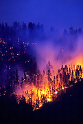 Upper Beaver wildfire at twilight. Purcell Mountains, Montana.
