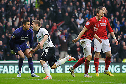 Derby Forward Jamie Ward (NIR) celebrates scoring a goal to level the scores at 1-1 during the second half of the match - Photo mandatory by-line: Rogan Thomson/JMP - Tel: Mobile: 07966 386802 19/01/2013 - SPORT - FOOTBALL - Pride Park - Derby. Derby County v Nottingham Forest - npower Championship. The meeting of these two local sides is known as the East Midlands Derby with the winner claiming the Brian Clough Trophy.