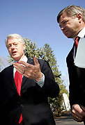 Chappaqua, NY, USA, November 15th 2004: Former US President Bill Clinton meeting with the Norwegian Prime Minister Kjell Magne Bondevik. The Norwegian Government agreed to help funding the fight against AIDS/ HIV with an amount somewhere between 20 - 25 million USD. The battle against HIV/AIDS is the focal point of the Clinton Foundation's activities<br /> <br />   *** Local Caption ***