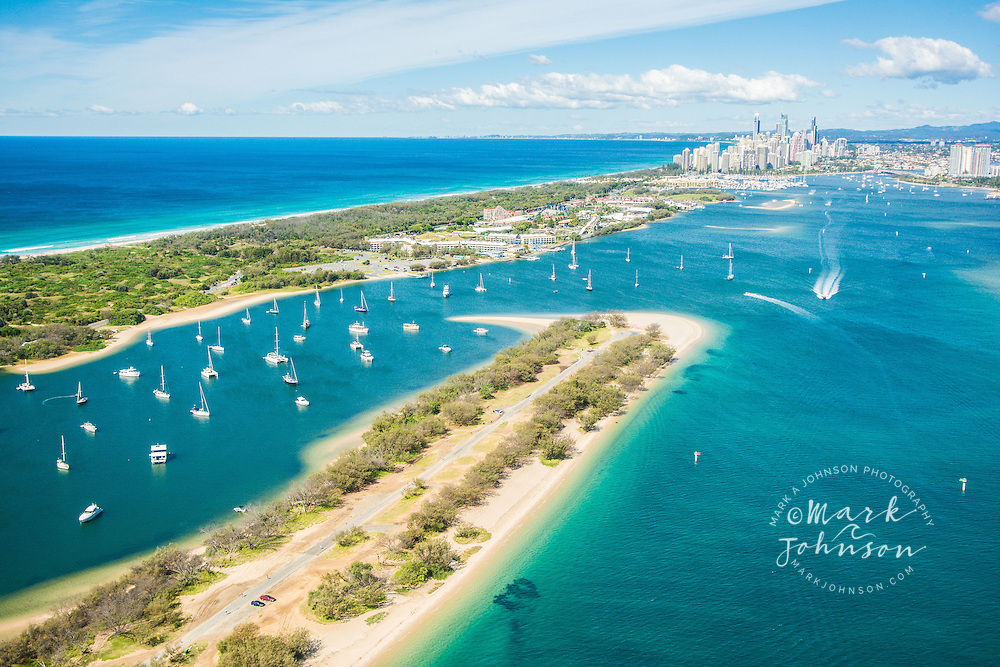 Aerial of The Spit & the Broadwater, Gold Coast, Queensland, Australia