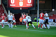 Walsall striker Tom Bradshaw heads home the first goal during the Sky Bet League 1 match between Walsall and Crewe Alexandra at the Banks's Stadium, Walsall, England on 26 September 2015. Photo by Alan Franklin.