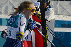 February 25, 2018 - Pyeongchang, South Korea - STINA NILLSON of Sweden celebrates winning the bronze medal in the Ladies' 30km Mass Start Classic cross-country ski racing event in the PyeongChang Olympic Games. (Credit Image: © Christopher Levy via ZUMA Wire)
